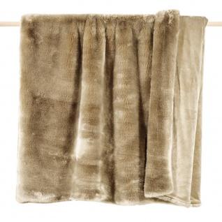 Pad Decke SHERIDAN Felldecke Taupe Kuscheldecke Wohndecke 140x190 Kunstfell