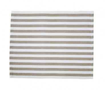 Krasilnikoff Tischset STREIFEN Taupe Baumwolle weiß sand gestreift Platzset