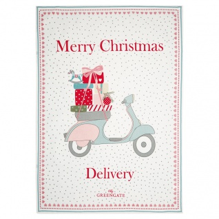 Greengate Geschirrtuch SCOOTER Merry Christmas Delivery Baumwolle 50x70 Weiß