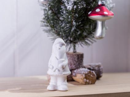 Weihnachtsmann mit Stern Porzellan weiß Weihnachtsdeko Deko Objekt Aufsteller