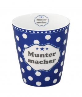 Krasilnikoff Becher Happy Mug MUNTERMACHER Blau Tasse Porzellan Kaffeebecher