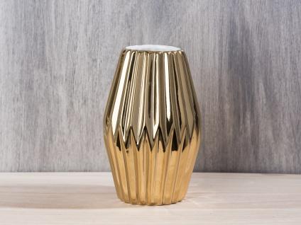 Bloomingville Vase Rhombus Porzellan gold mit Rillen 16 cm Blumenvase fluted