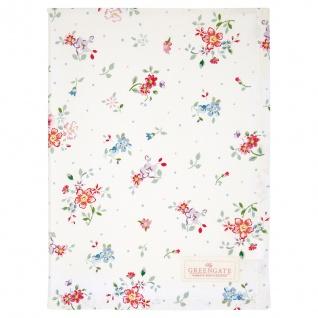 Greengate Geschirrtuch BELLE Weiß Blumen Baumwolle 50x70 Küchentuch