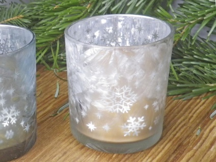 Windlicht Glas EMILIE Weiß mattiert Schneekristal 10 cm Weihnachtsdeko Teelicht