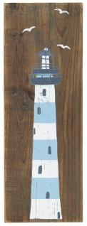 IB Laursen Holzschild LEUCHTTURM Blau Weiss 18x50 cm Maritime Deko Schild Holz - Vorschau