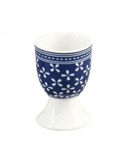 Krasilnikoff Eierbecher DAISY Dunkelblau Porzellan Blumen weiß blau