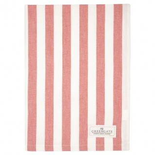 Greengate Geschirrtuch RIGMOR Coral Weiß Streifen Baumwolle 50x70 cm Handtuch