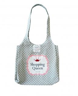"""Krasilnikoff Tasche """" Shopping Queen"""" Herzen hellgrau weiß Baumwolle Shopping Bag"""