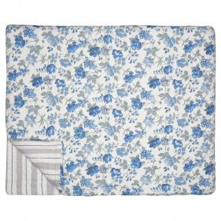 Greengate Quilt DONNA Blau Weiß 250x260 Tagesdecke Baumwolle Decke Überwurf
