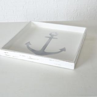 Deko Tablett ANKER XL Holz Weiß Maritim Vintage 48 cm Quadratisch Tischdeko