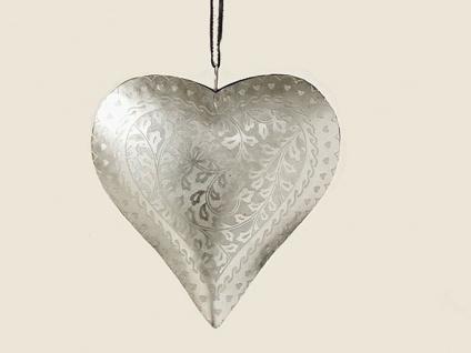 Deko Herz Hänger ELENA 18 cm silber Metall Hochzeitsdeko Muttertag Geschenk