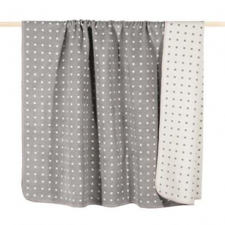 Pad Decke Punkte grau weiß Wolldecke 150x200 Wohndecke Kuscheldecke