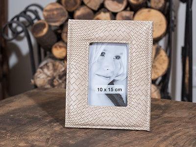 Bilderrahmen Leandra 23 cm Kroko Leder Optik beige für 10x15 Foto