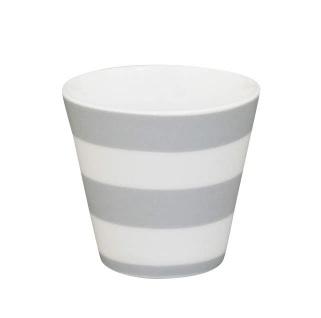 Krasilnikoff Espresso Tasse STREIFEN Hellgrau Porzellan grau weiß gestreift 80ml