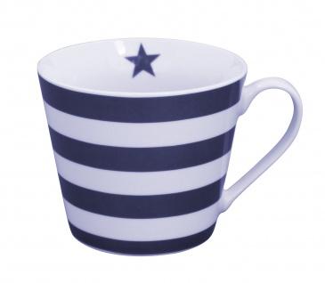Krasilnikoff Tasse Happy Cup STREIFEN Dunkelblau Porzellan Becher Maritim blau