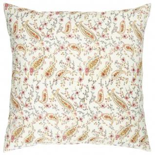 IB Laursen Kissenhülle Weiß Blumen Paisley Muster 50x50 Baumwolle Kissenbezug