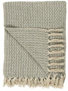 IB Laursen Plaid Blau Creme Baumwolle Decke 130x160 Wolldecke Kuscheldecke