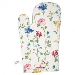 Greengate Ofenhandschuh THILDE Weiß Blumen Grill Handschuh BBQ Handschuh