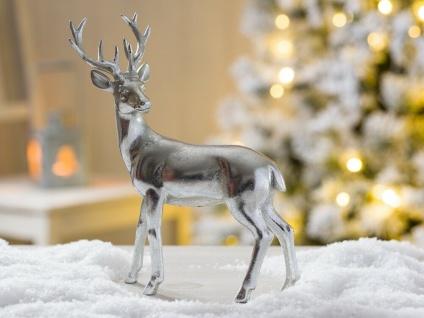 Hirsch DARWIN silber stehend Weihnachtsdeko 22 cm Deko Objekt Kunstharz