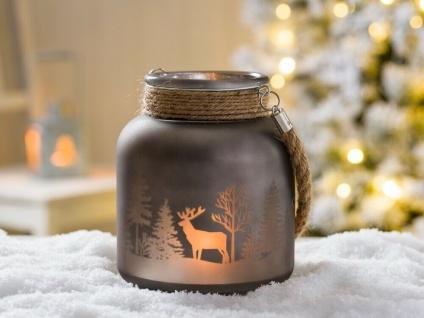Windlicht WINTERWALD mit Kordel grau 16 cm Hirsch Motiv Glas