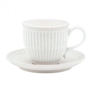 Greengate Tasse mit Untertasse ALICE Weiss Kaffeebecher Everyday Geschirr 300 ml