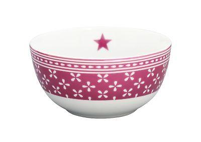 Krasilnikoff Schale Happy Bowl Daisy Pflaume Blumen weiß Müslischale Porzellan