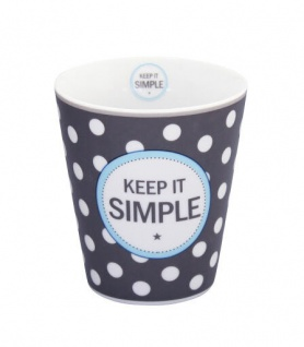 Krasilnikoff Happy Mug Becher KEEP IT SIMPLE Dunkelgrau Porzellan Tasse Punkte