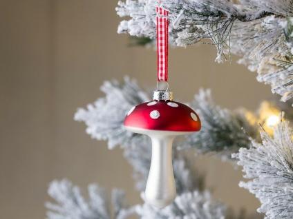 Tannenbaum Schmuck FLIEGENPILZ Rot Weiß Pilz Stiel gerade Tannenbaumkugel Deko