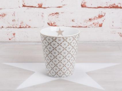 Krasilnikoff Happy Mug Becher DIAGONAL Taupe Blumen Stern Tasse