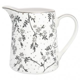 Greengate Krug AMIRA Weiß Grau 0.5 Liter Kanne Porzellan Geschirr Karaffe