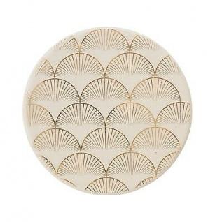 Bloomingville Teller Aruba creme gold Keramik Geschirr Untersetzer 10 cm