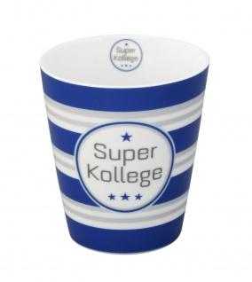 Krasilnikoff Becher Happy Mug SUPER KOLLEGE Blau Tasse Porzellan Kaffeebecher