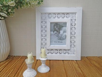 Bilderrahmen Nancy in weiß für 1 Foto 13 x 18. Romantik Vintage Look