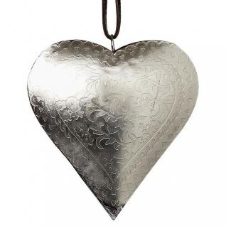 Deko HERZ Hänger DANA 11 cm silber Metall Hochzeitsdeko Muttertag Geschenk