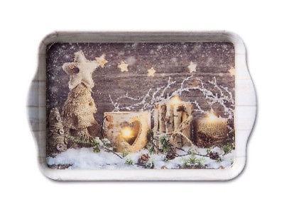 """Ambiente Tablett Natural X-Mas"""" Windlicht Schnee Sterne Weihnachten. 13x21 Mela"""""""