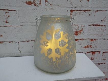 LED Windlicht Glas SCHNEEFLOCKE mit LED Licht Weiß Matt inkl. Lichterkette