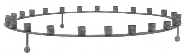 IB Laursen Kerzenhalter ADVENT für 24 Kerzen Grau Metall Kerzenständer Rund