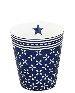 Krasilnikoff Becher Happy Mug DAISY dunkelblau Tasse Porzellan Kaffeebecher