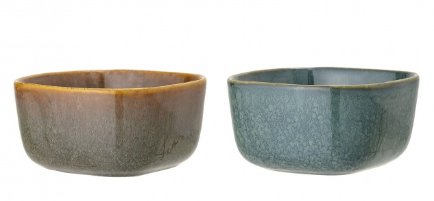 Bloomingville Schale AIME 2 Stk Blau Braun Keramik Geschirr Schüssel Müslischale