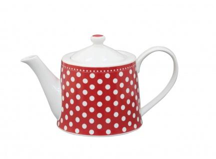 Krasilnikoff Teekanne PUNKTE Rot Porzellan rote 1 Liter Kanne weiß gepunktet