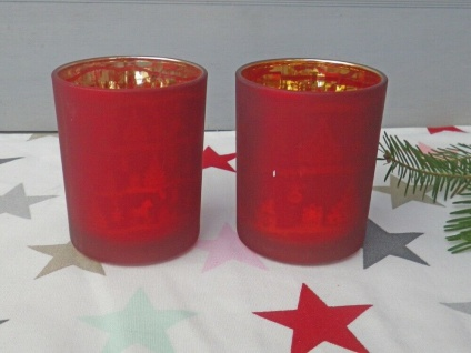 Windlicht X-MAS Rot 8 cm Teelichtglas 2er Set Weihnachtsdeko Glas Weihnachten