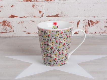 Krasilnikoff Happy Mug Henkel Becher Blume MILLE FLEURS Grau Blumen bunt