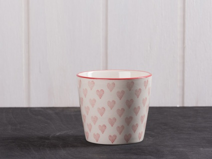 IB Laursen Becher Herz creme weiß klein Rote Herzen weiße Keramik Tasse ohne Hen