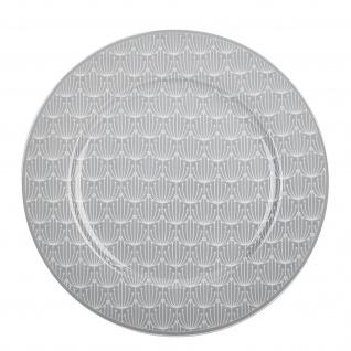 Krasilnikoff Teller BLOSSOM Hellgrau Essteller 25 cm Porzellan Geschirr Grau