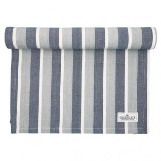 Greengate Tischläufer ALYSSA Blau Grau Streifen Baumwolle 45x140 cm Tischdecke