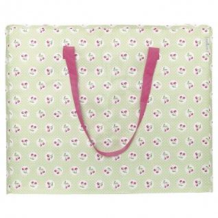 Greengate Tasche Storage Bag Grün mit Kirschen Aufbewahrungstasche mit Henkeln