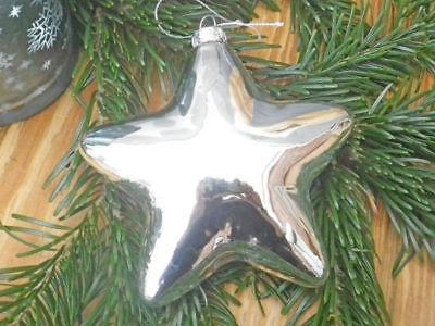 Hänger 3-D Stern silber groß Christbaum Schmuck Weihnachtsdeko Tannenbaumkugel
