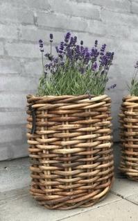 A2 Living Rattan Korb 40 cm Garten Deko Pflanzkorb Aufbewahrung Pflanzen