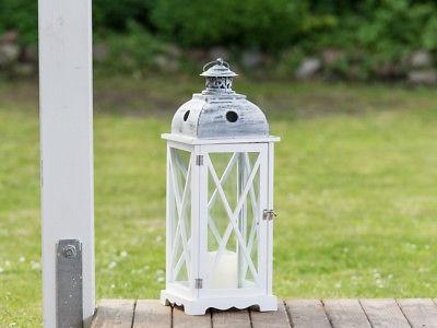 Laterne Countryside 60 cm groß, XL Gartenlaterne, Windlicht weiß Holz Metall