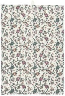 IB Laursen Geschirrtuch Weiß Blumen in Rose und Grau Baumwolle Geschirrhandtuch